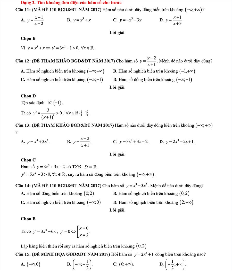 Các dạng bài tập biện luận tham số m để hàm số đơn điệu 5