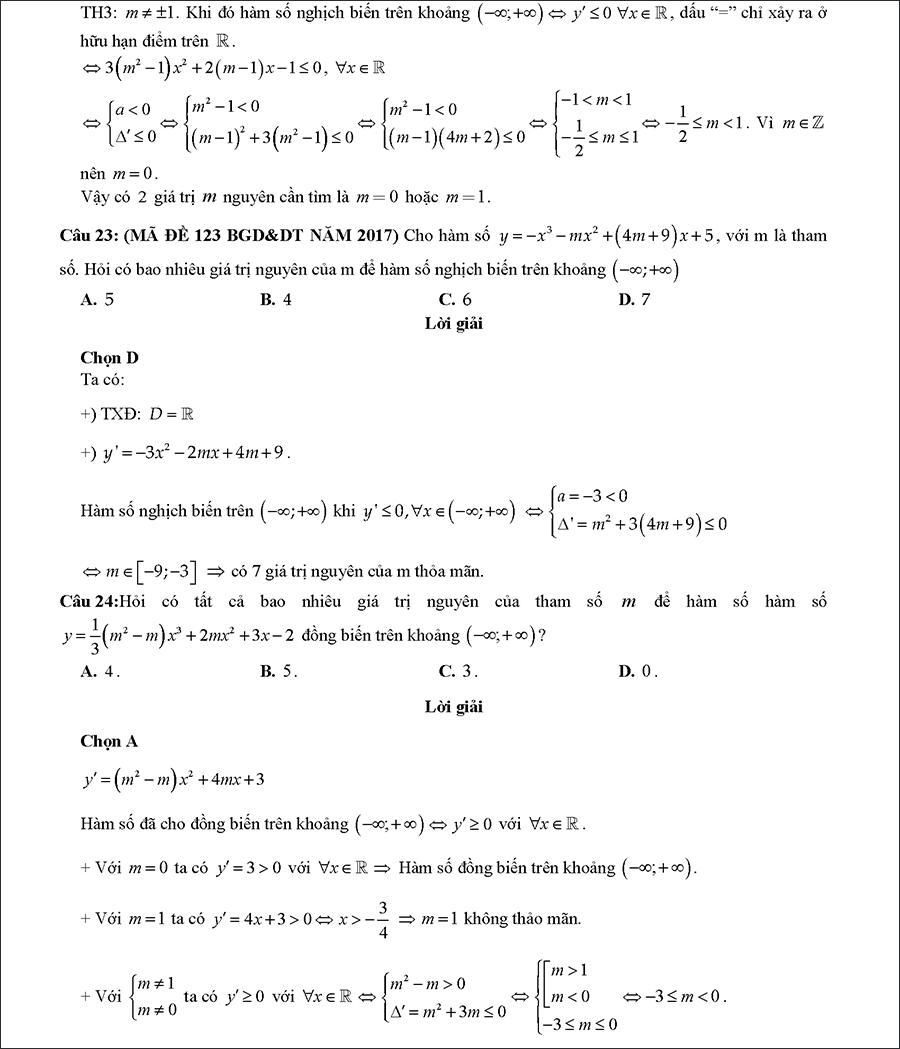 Các dạng bài tập biện luận tham số m để hàm số đơn điệu 8