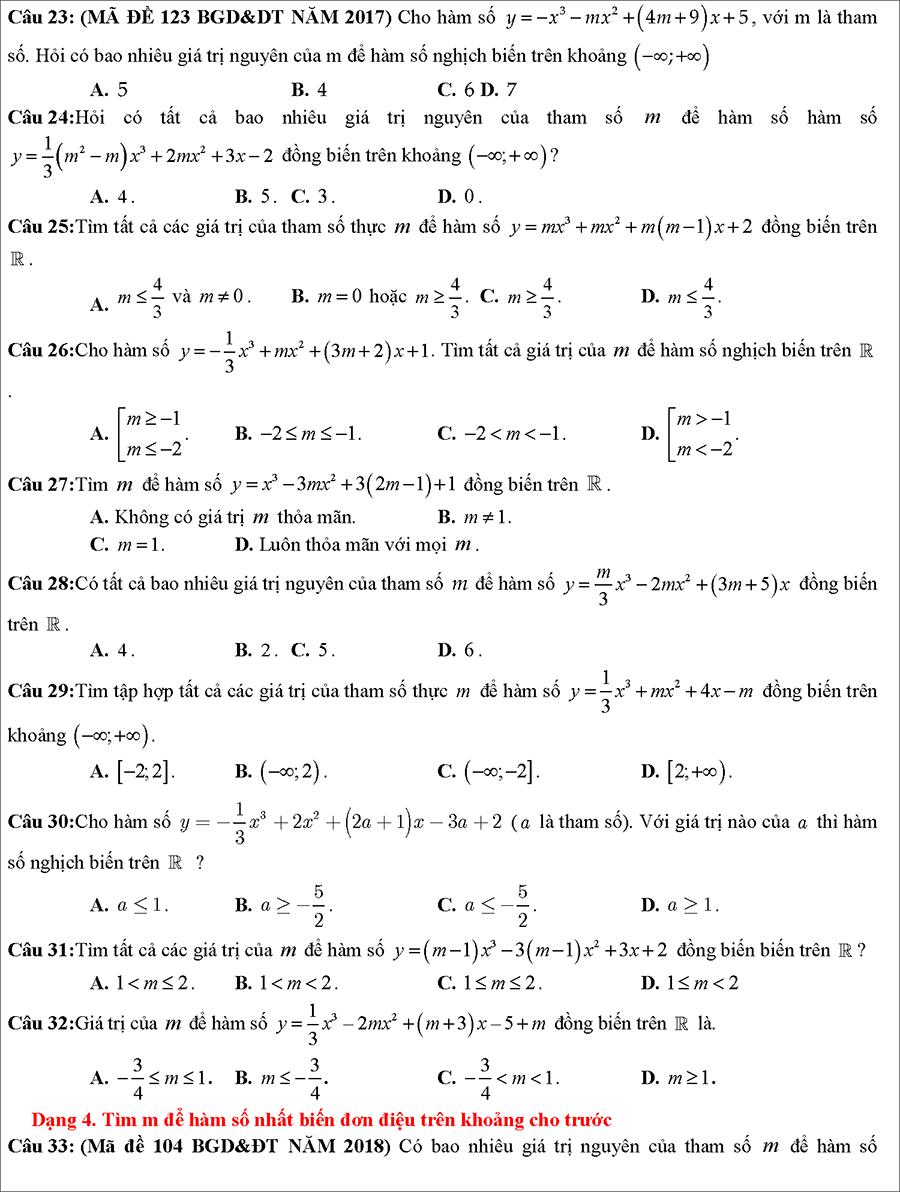 Tài liệu: Các dạng toán về tính đồng biến nghịch biến của hàm số 5