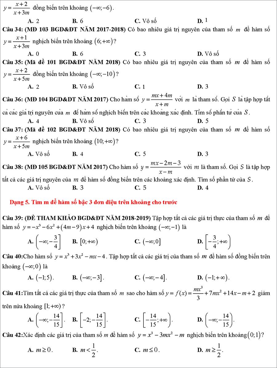 Tài liệu: Các dạng toán về tính đồng biến nghịch biến của hàm số 6