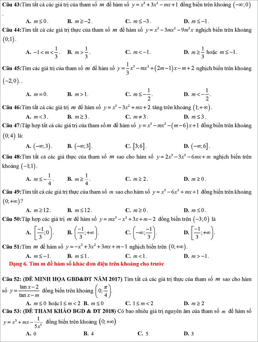 Tài liệu: Các dạng toán về tính đồng biến nghịch biến của hàm số 7