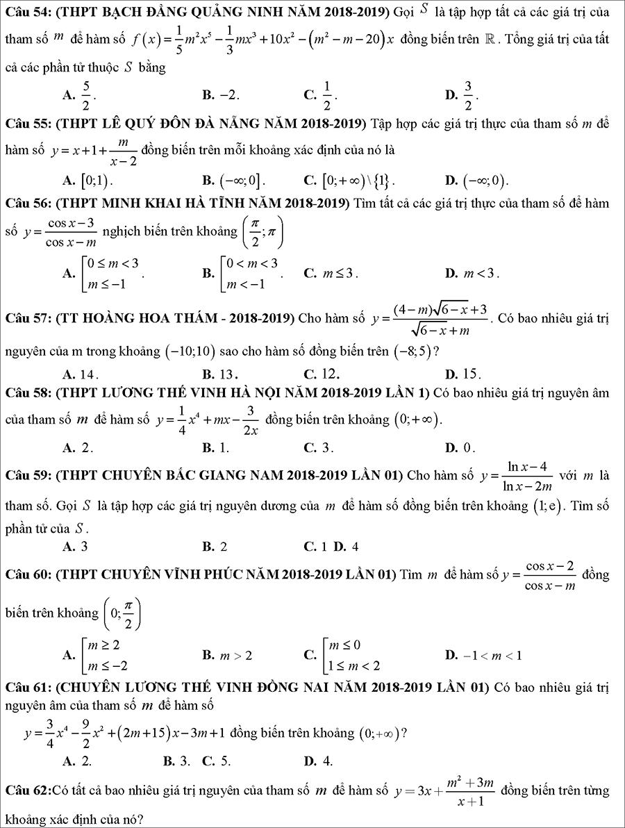 Tài liệu: Các dạng toán về tính đồng biến nghịch biến của hàm số 8