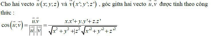 Công thức góc giữa hai vecto trong không gian
