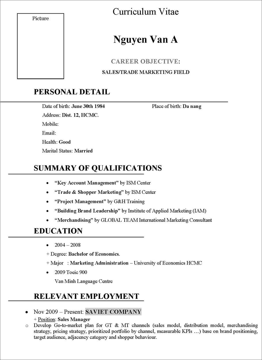 CV bán hàng