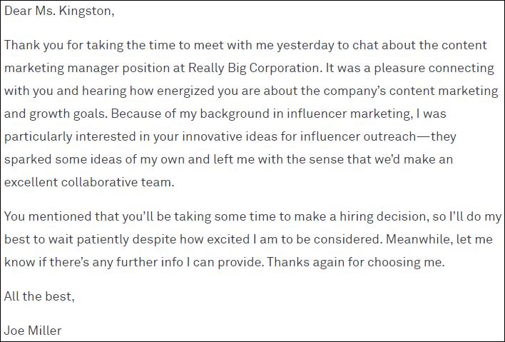 Thư cảm ơn phỏng vấn xin việc