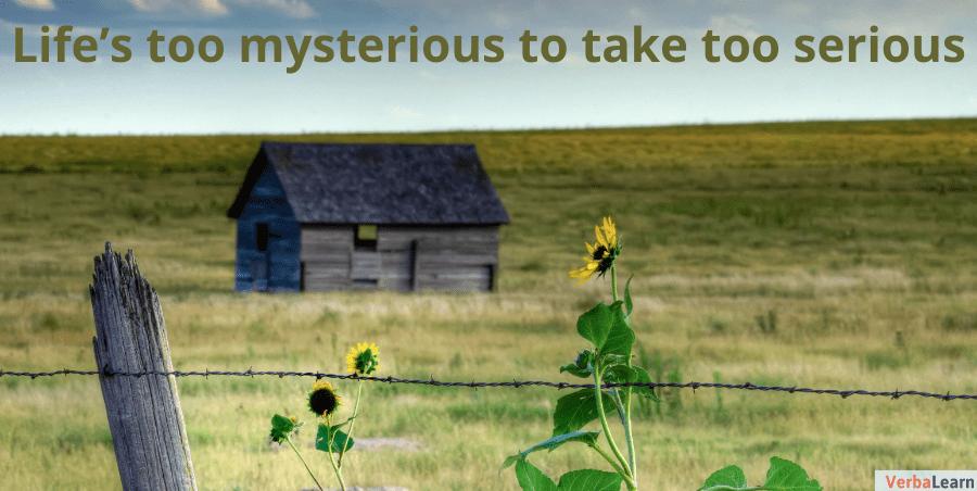Life's too mysterious to take too serious